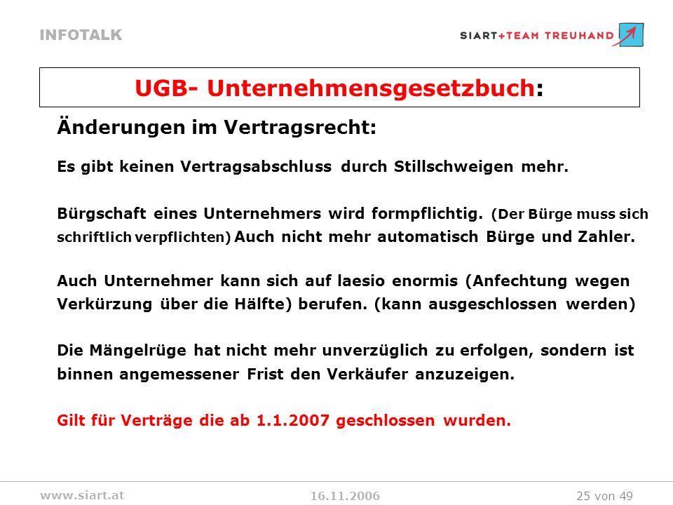 16.11.2006 INFOTALK www.siart.at 25 von 49 Änderungen im Vertragsrecht: Es gibt keinen Vertragsabschluss durch Stillschweigen mehr. Bürgschaft eines U