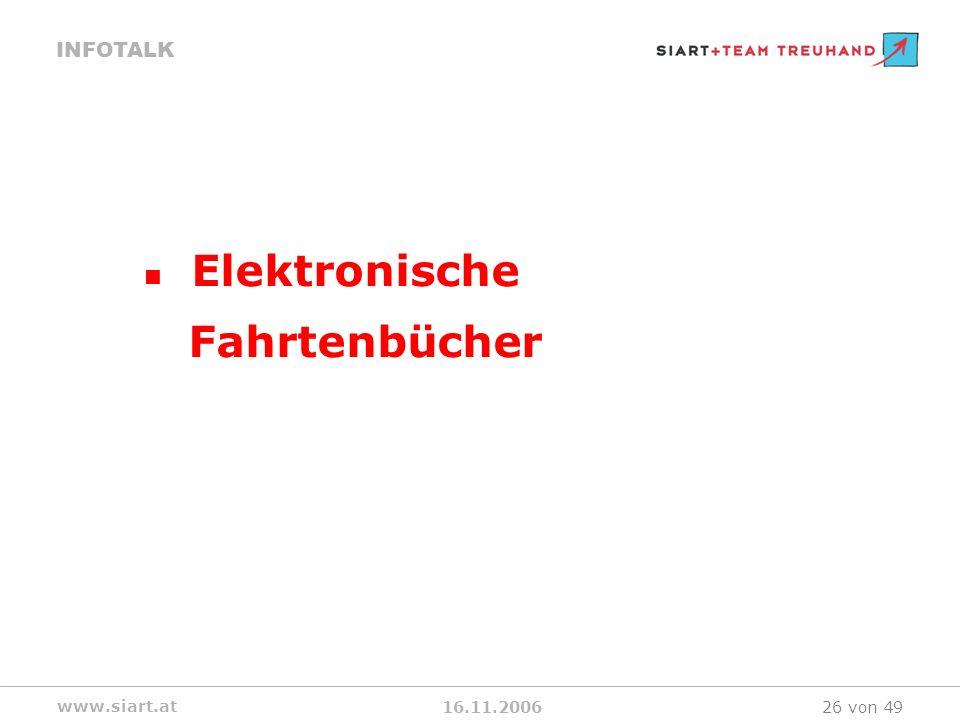 16.11.2006 INFOTALK www.siart.at 26 von 49 Elektronische Fahrtenbücher