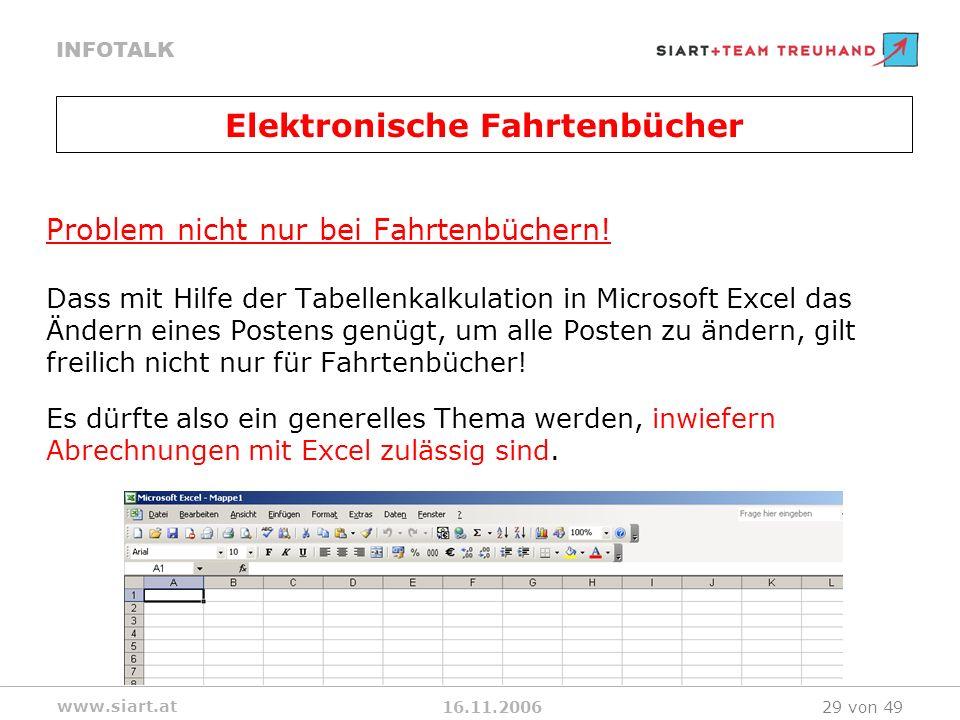16.11.2006 INFOTALK www.siart.at 29 von 49 Problem nicht nur bei Fahrtenbüchern! Dass mit Hilfe der Tabellenkalkulation in Microsoft Excel das Ändern