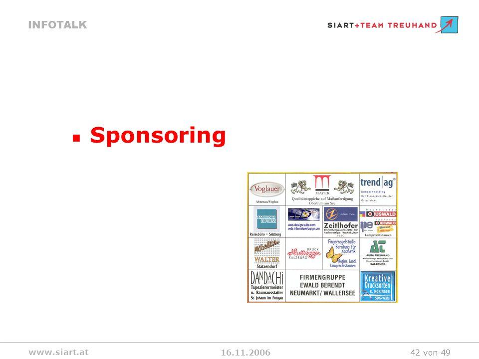 16.11.2006 INFOTALK www.siart.at 42 von 49 Sponsoring
