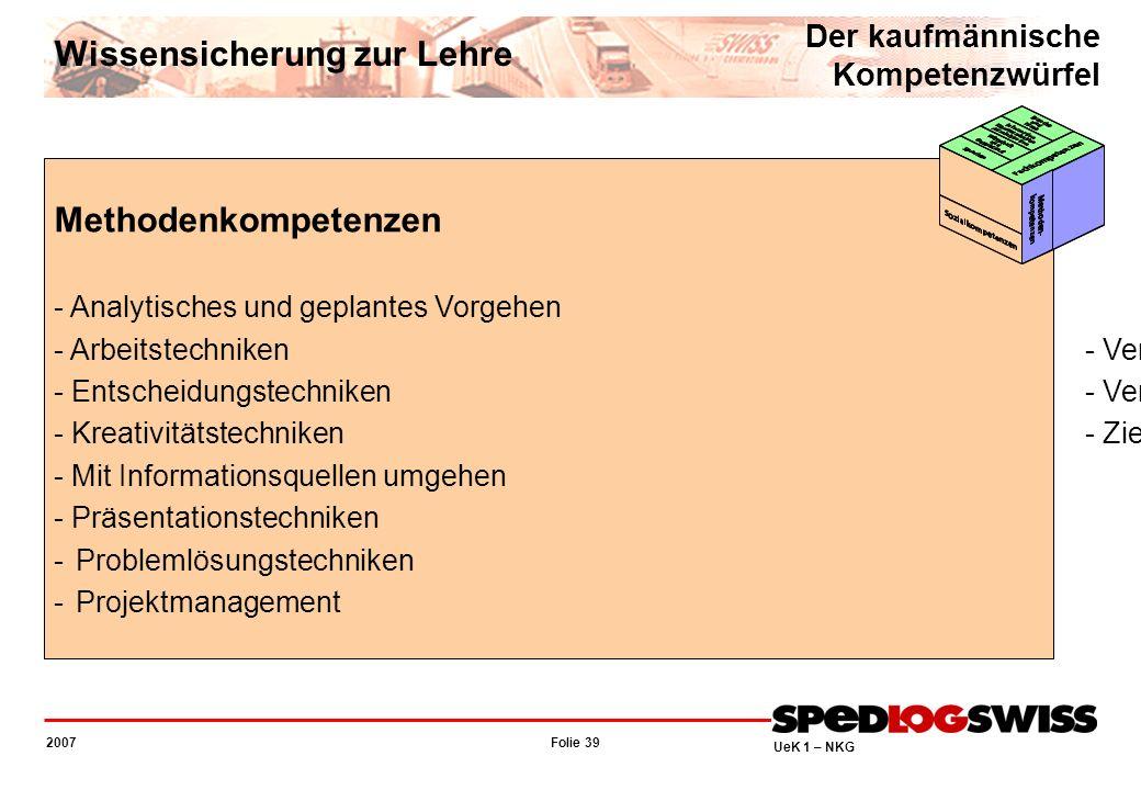 Folie 39 2007 UeK 1 – NKG Methodenkompetenzen - Analytisches und geplantes Vorgehen - Verhandlungstechniken - Arbeitstechniken- Verkaufstechniken - En