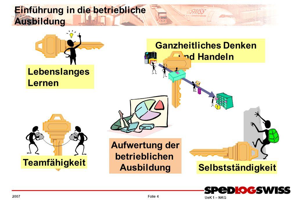 Folie 4 2007 UeK 1 – NKG Teamfähigkeit Lebenslanges Lernen Selbstständigkeit Ganzheitliches Denken und Handeln Aufwertung der betrieblichen Ausbildung