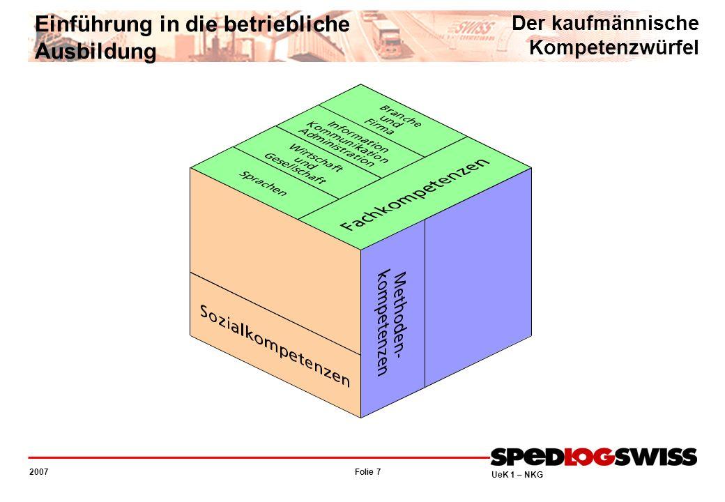 Folie 7 2007 UeK 1 – NKG Einführung in die betriebliche Ausbildung Der kaufmännische Kompetenzwürfel