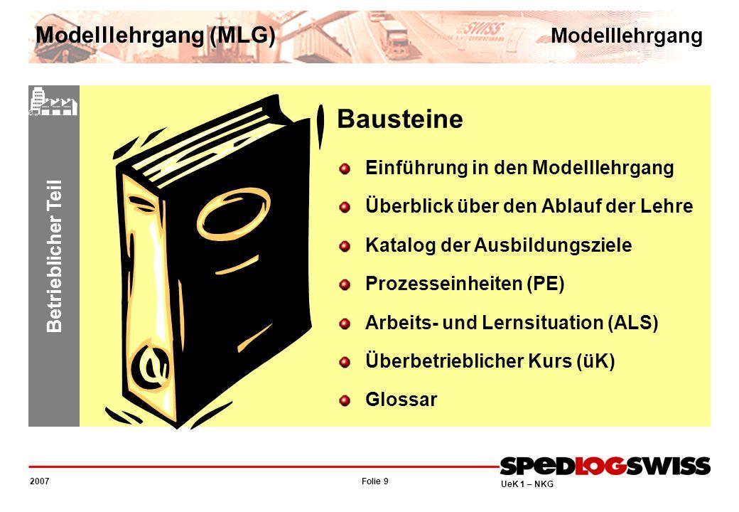 Folie 9 2007 UeK 1 – NKG Betrieblicher Teil Bausteine Einführung in den Modelllehrgang Überblick über den Ablauf der Lehre Katalog der Ausbildungsziel