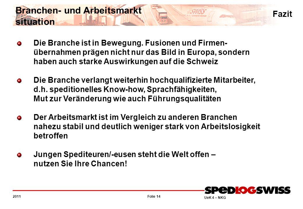 Folie 14 2011 UeK 4 – NKG Fazit Branchen- und Arbeitsmarkt situation Die Branche ist in Bewegung.
