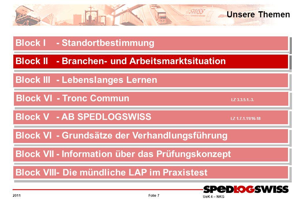 Folie 48 2011 UeK 4 – NKG Information über das Prüfungskonzept Voraussetzungen Berufliche Situationen, die auch gute Kommunikation verlangen (Reglement).