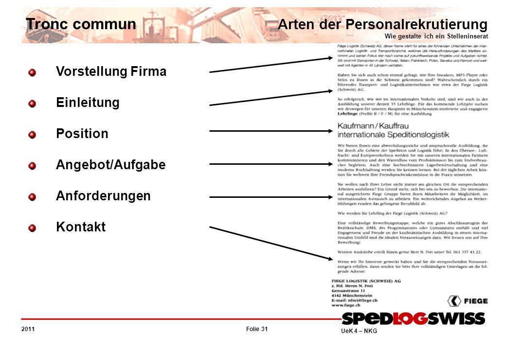 Folie 31 2011 UeK 4 – NKG Tronc commun Arten der Personalrekrutierung Wie gestalte ich ein Stelleninserat Vorstellung Firma Einleitung Position Angebo