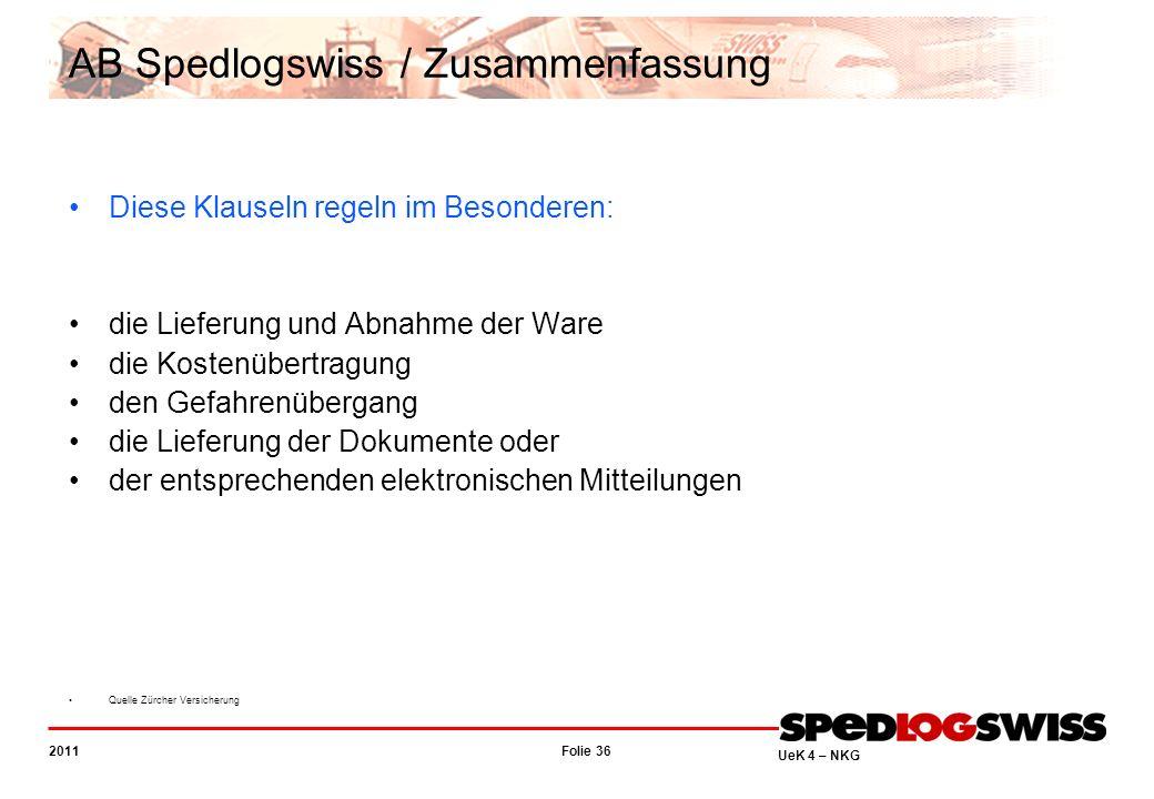 Folie 36 2011 UeK 4 – NKG AB Spedlogswiss / Zusammenfassung Diese Klauseln regeln im Besonderen: die Lieferung und Abnahme der Ware die Kostenübertrag