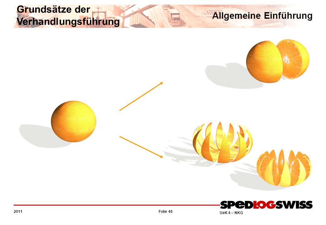 Folie 46 2011 UeK 4 – NKG Allgemeine Einführung Grundsätze der Verhandlungsführung