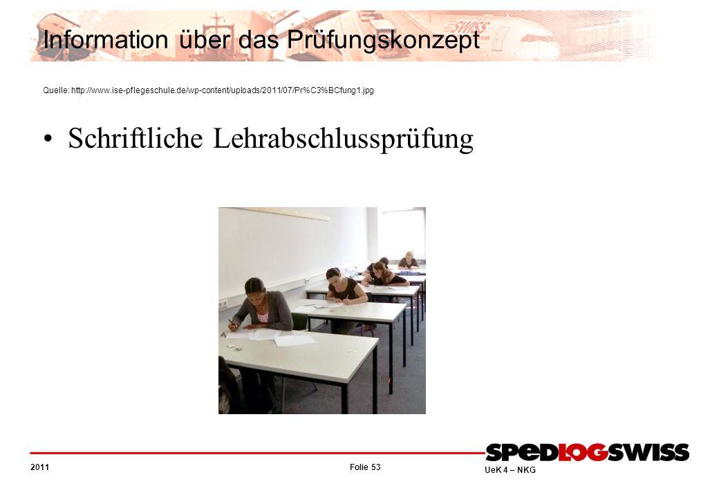 Folie 53 2011 UeK 4 – NKG Information über das Prüfungskonzept Quelle: http://www.ise-pflegeschule.de/wp-content/uploads/2011/07/Pr%C3%BCfung1.jpg Schriftliche Lehrabschlussprüfung