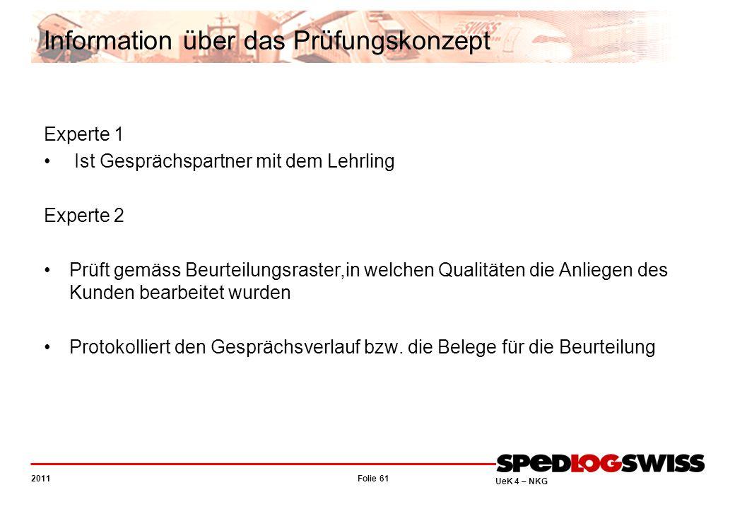 Folie 61 2011 UeK 4 – NKG Information über das Prüfungskonzept Experte 1 Ist Gesprächspartner mit dem Lehrling Experte 2 Prüft gemäss Beurteilungsrast