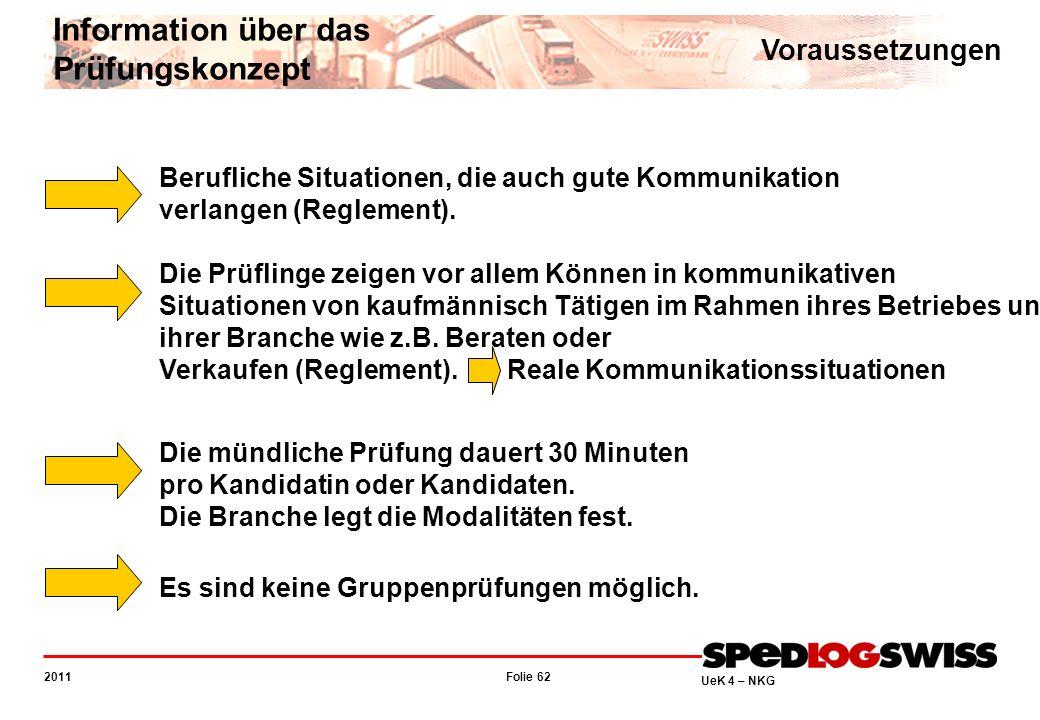 Folie 62 2011 UeK 4 – NKG Information über das Prüfungskonzept Voraussetzungen Berufliche Situationen, die auch gute Kommunikation verlangen (Reglemen