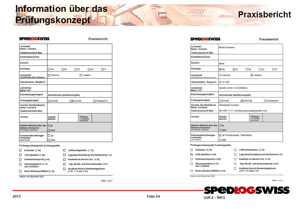 Folie 64 2011 UeK 4 – NKG Information über das Prüfungskonzept Praxisbericht