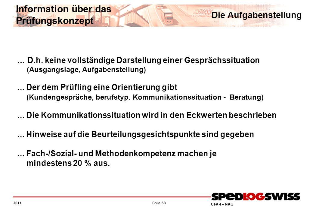 Folie 68 2011 UeK 4 – NKG Information über das Prüfungskonzept Die Aufgabenstellung... D.h. keine vollständige Darstellung einer Gesprächssituation (A