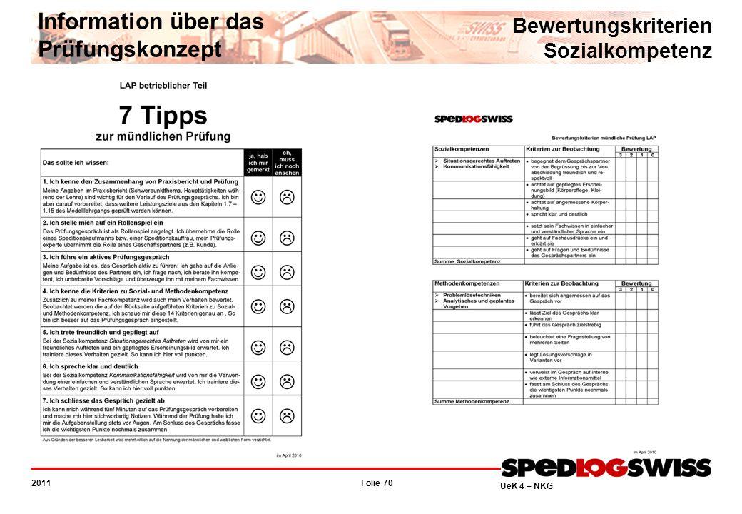 Folie 70 2011 UeK 4 – NKG Information über das Prüfungskonzept Bewertungskriterien Sozialkompetenz