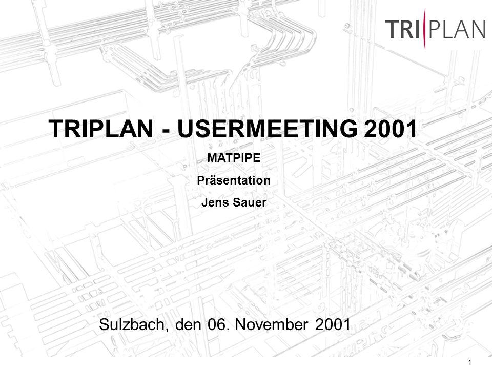 1 TRIPLAN - USERMEETING 2001 MATPIPE Präsentation Jens Sauer Sulzbach, den 06. November 2001