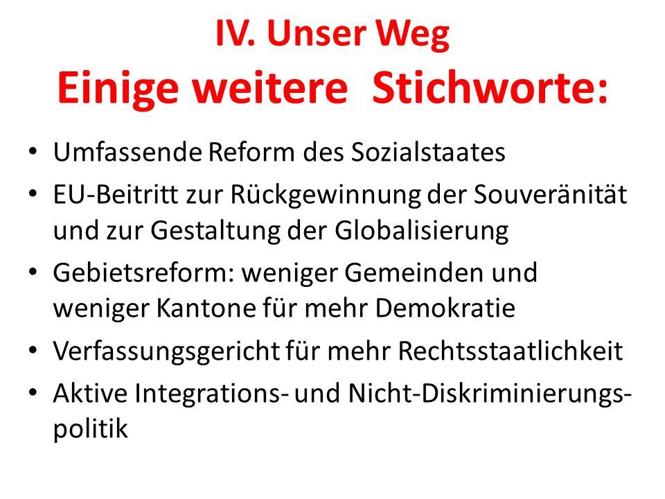 IV. Unser Weg Einige weitere Stichworte: Umfassende Reform des Sozialstaates EU-Beitritt zur Rückgewinnung der Souveränität und zur Gestaltung der Glo