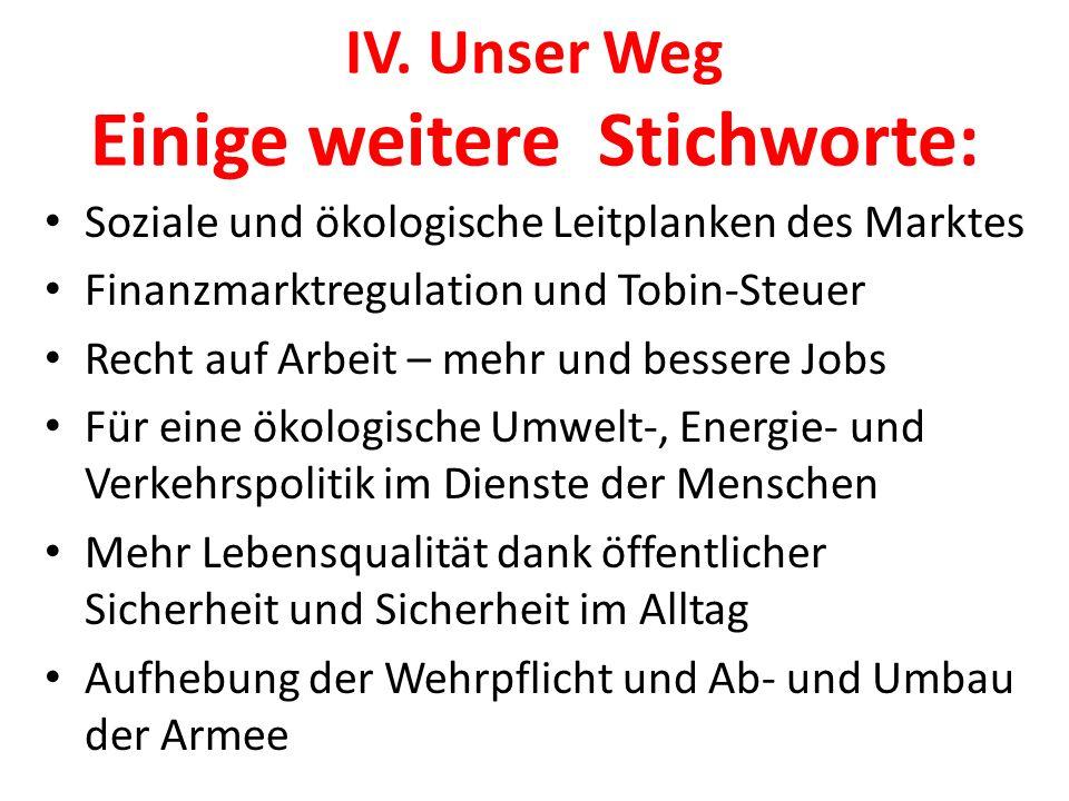 IV. Unser Weg Einige weitere Stichworte: Soziale und ökologische Leitplanken des Marktes Finanzmarktregulation und Tobin-Steuer Recht auf Arbeit – meh