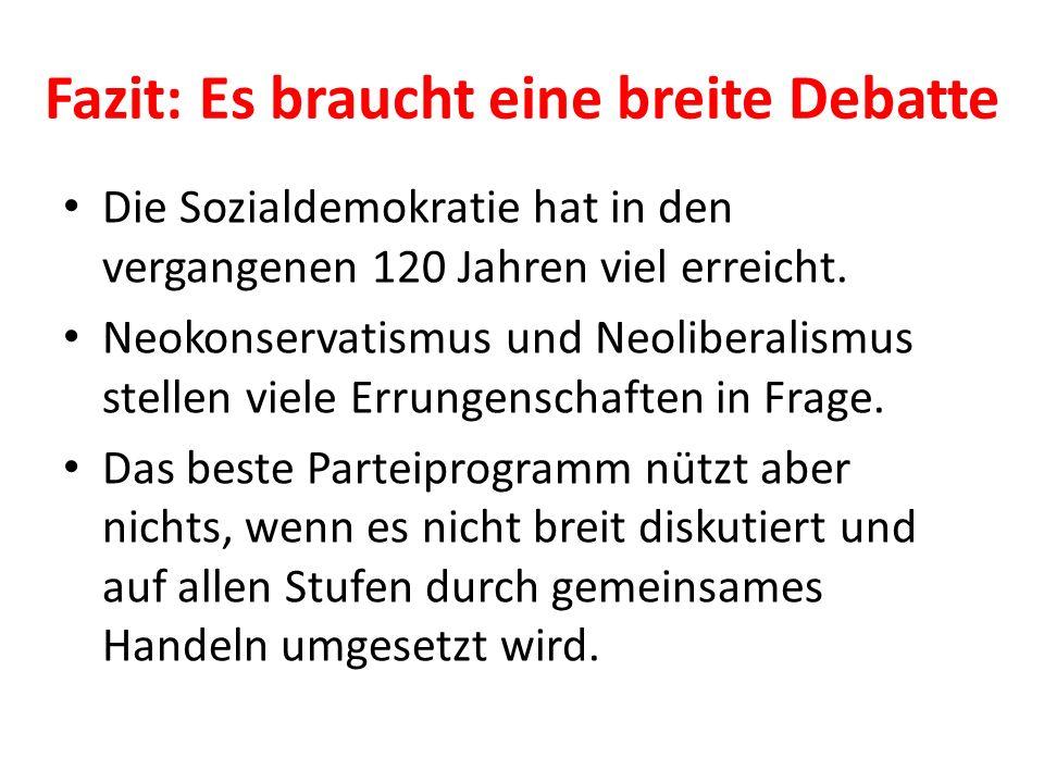 Fazit: Es braucht eine breite Debatte Die Sozialdemokratie hat in den vergangenen 120 Jahren viel erreicht. Neokonservatismus und Neoliberalismus stel