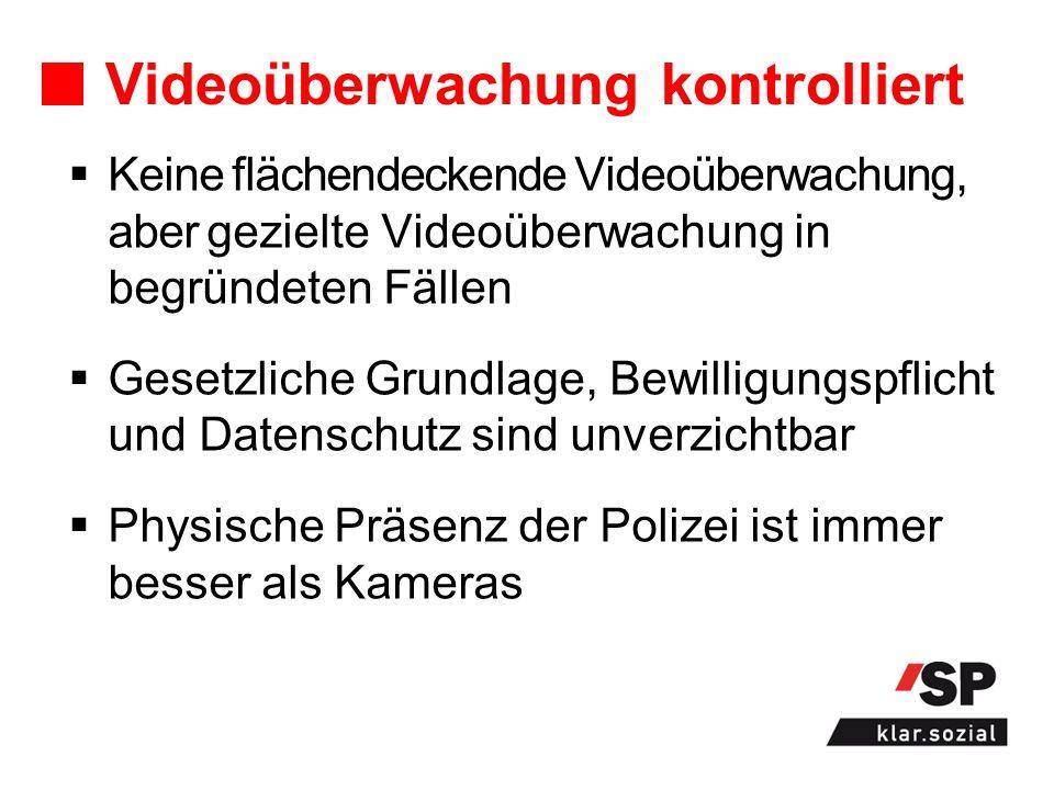 Videoüberwachung kontrolliert Keine flächendeckende Videoüberwachung, aber gezielte Videoüberwachung in begründeten Fällen Gesetzliche Grundlage, Bewilligungspflicht und Datenschutz sind unverzichtbar Physische Präsenz der Polizei ist immer besser als Kameras