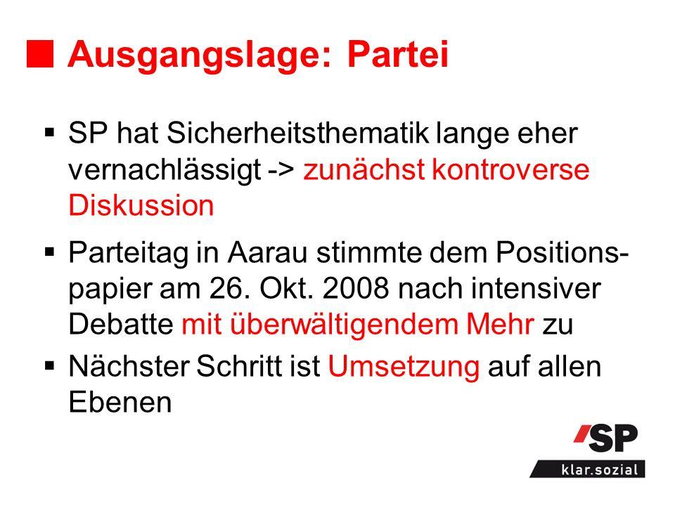 Ausgangslage: Partei SP hat Sicherheitsthematik lange eher vernachlässigt -> zunächst kontroverse Diskussion Parteitag in Aarau stimmte dem Positions- papier am 26.