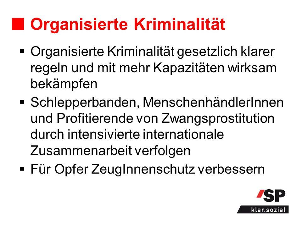 Organisierte Kriminalität Organisierte Kriminalität gesetzlich klarer regeln und mit mehr Kapazitäten wirksam bekämpfen Schlepperbanden, Menschenhändl