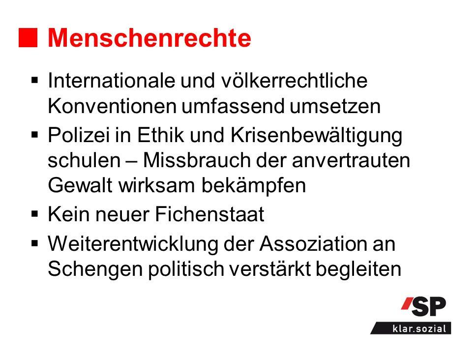 Menschenrechte Internationale und völkerrechtliche Konventionen umfassend umsetzen Polizei in Ethik und Krisenbewältigung schulen – Missbrauch der anvertrauten Gewalt wirksam bekämpfen Kein neuer Fichenstaat Weiterentwicklung der Assoziation an Schengen politisch verstärkt begleiten