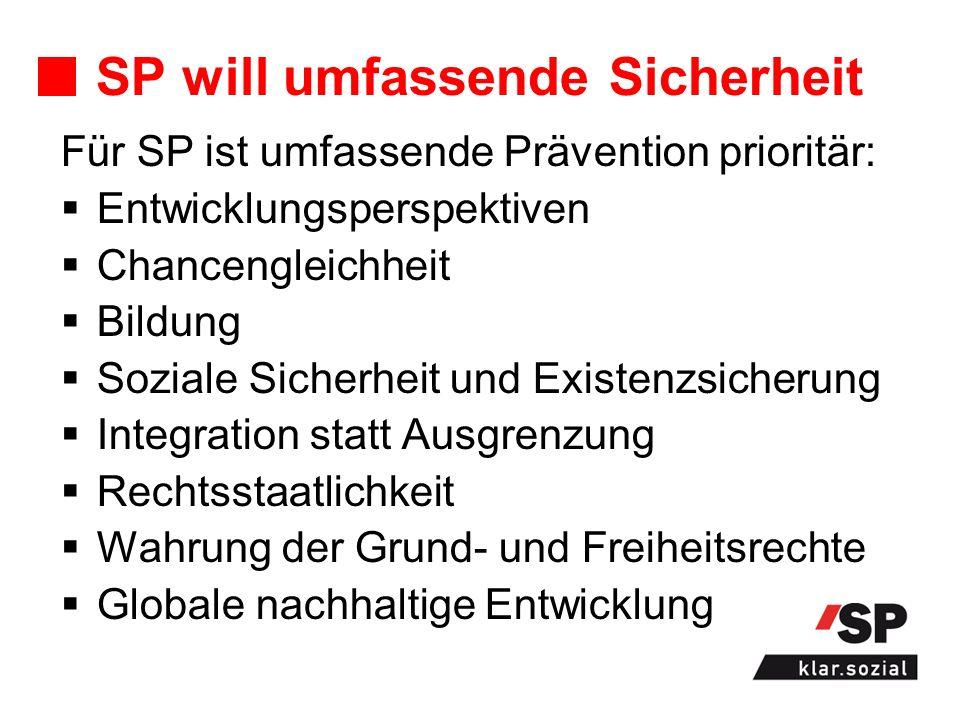 SP will umfassende Sicherheit Für SP ist umfassende Prävention prioritär: Entwicklungsperspektiven Chancengleichheit Bildung Soziale Sicherheit und Ex