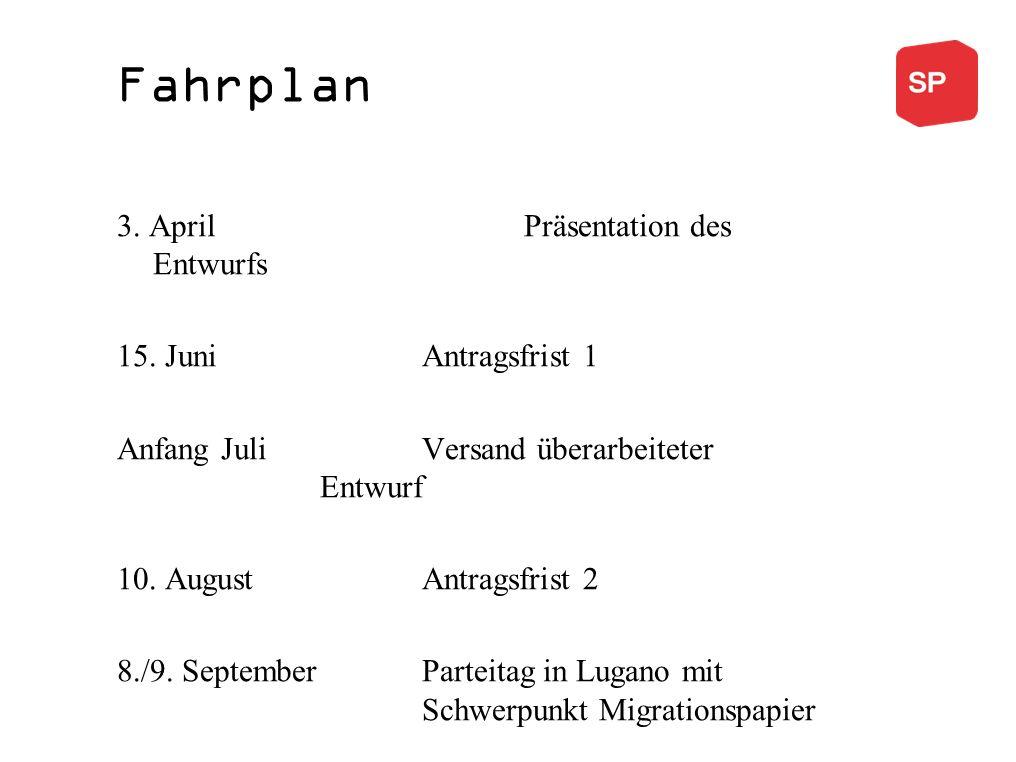Fahrplan 3.April Präsentation des Entwurfs 15.