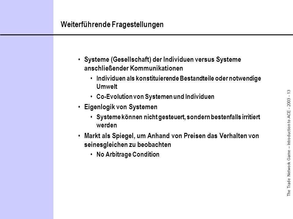 The Trade Network Game – Introduction to ACE - 2003 - 13 Weiterführende Fragestellungen Systeme (Gesellschaft) der Individuen versus Systeme anschließ