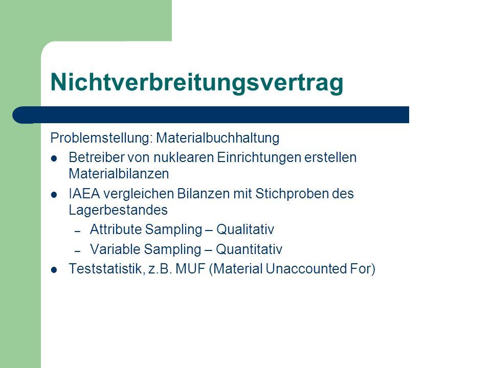 Nichtverbreitungsvertrag Problemstellung: Materialbuchhaltung Betreiber von nuklearen Einrichtungen erstellen Materialbilanzen IAEA vergleichen Bilanzen mit Stichproben des Lagerbestandes – Attribute Sampling – Qualitativ – Variable Sampling – Quantitativ Teststatistik, z.B.