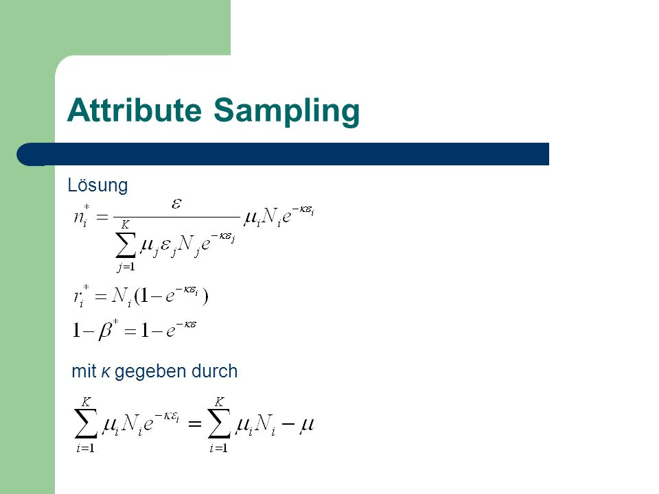 Attribute Sampling Lösung mit κ gegeben durch