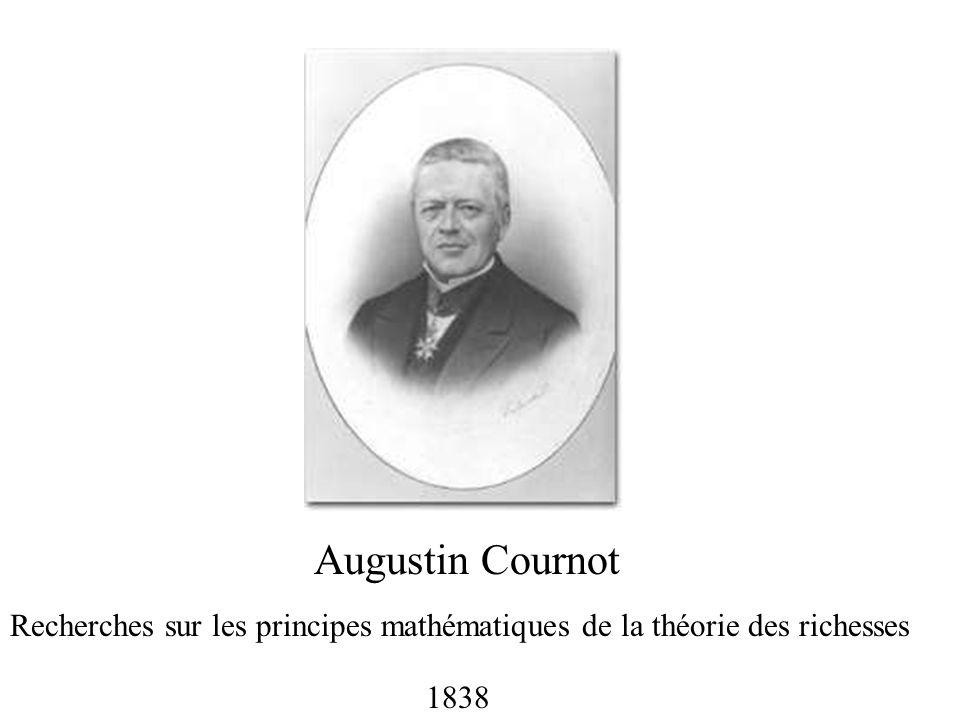 Augustin Cournot Recherches sur les principes mathématiques de la théorie des richesses 1838