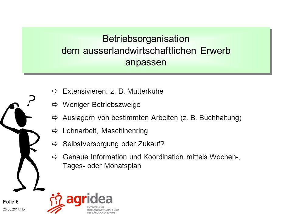 Folie 5 20.05.2014/Ho Betriebsorganisation dem ausserlandwirtschaftlichen Erwerb anpassen Extensivieren: z.