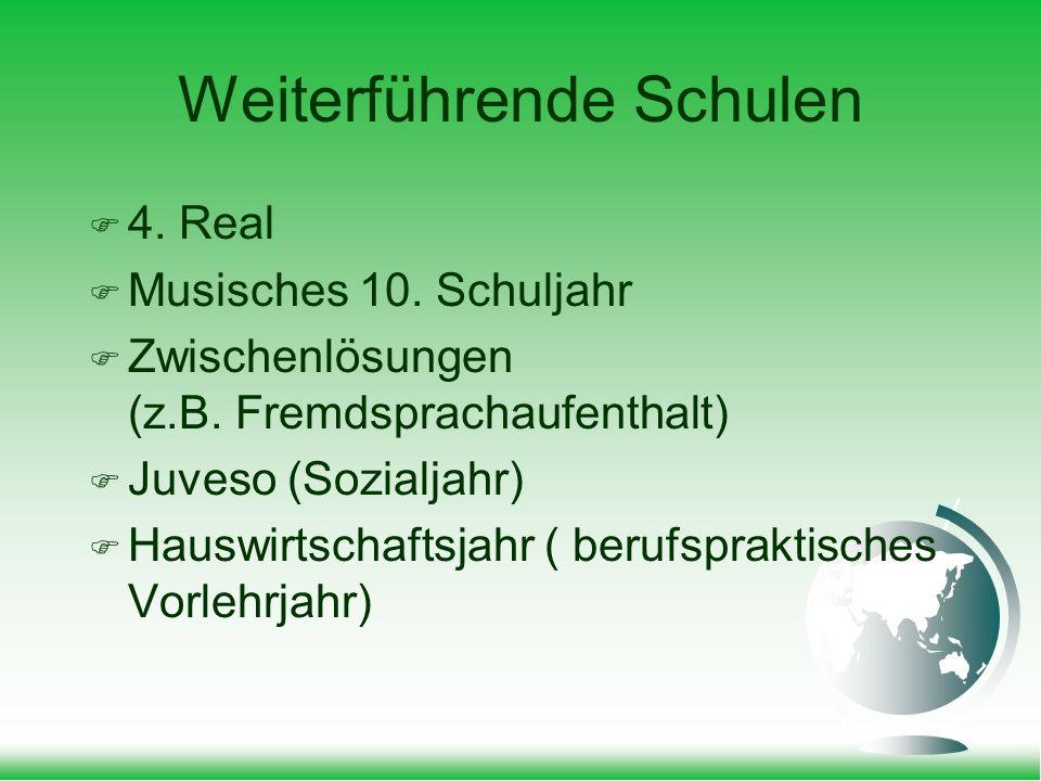 Weiterführende Schulen 4. Real Musisches 10. Schuljahr Zwischenlösungen (z.B.