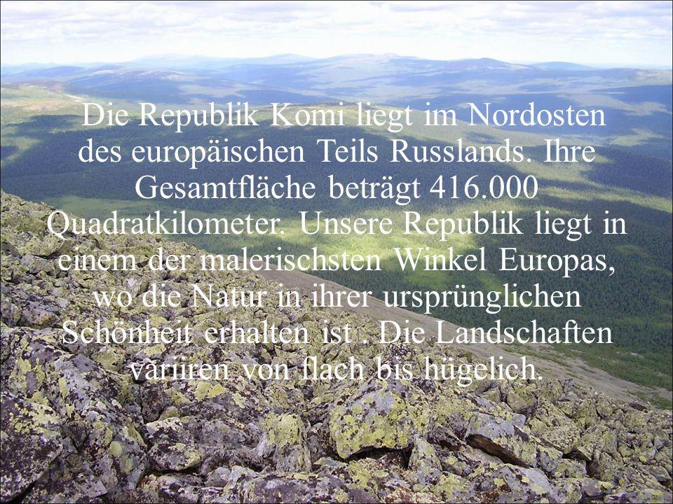 Die Republik Komi liegt im Nordosten des europäischen Teils Russlands. Ihre Gesamtfläche beträgt 416.000 Quadratkilometer. Unsere Republik liegt in ei