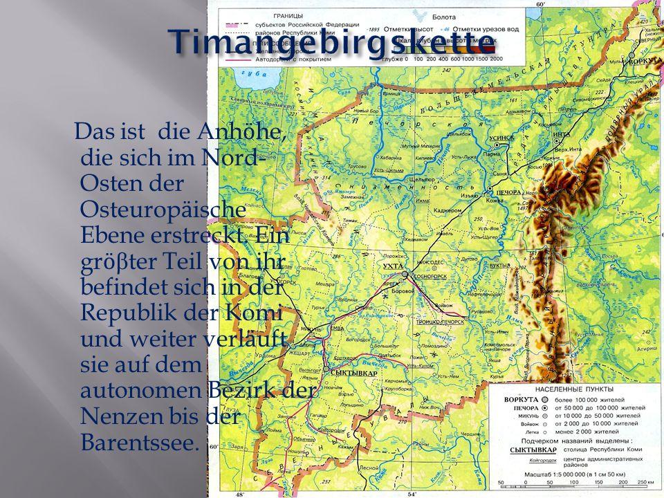 Das ist die Anh ӧ he, die sich im Nord- Osten der Osteurop ӓ ische Ebene erstreckt. Ein gr ӧ β ter Teil von ihr befindet sich in der Republik der Komi
