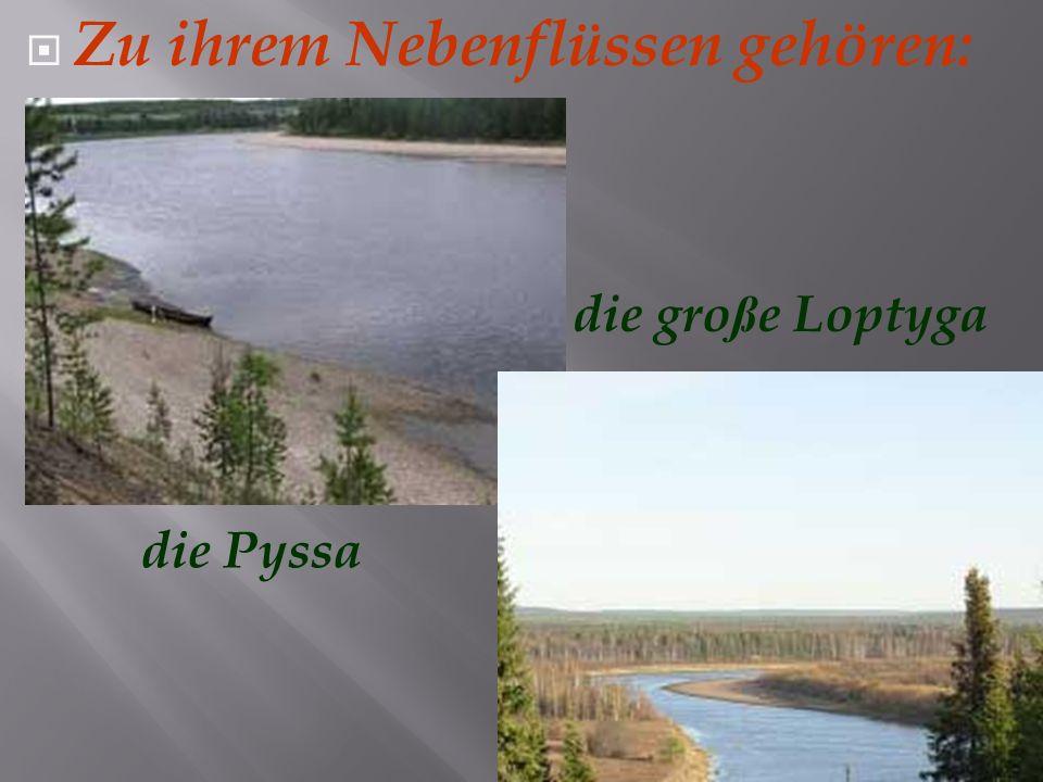 Es gibt noch viele kleine und große Flüsse, z.B: die Wischera die Hulga die Irwa die Emwa