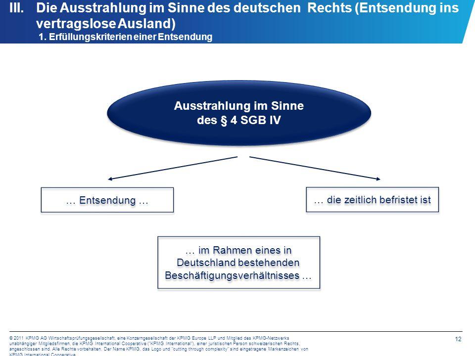 12 © 2011 KPMG AG Wirtschaftsprüfungsgesellschaft, eine Konzerngesellschaft der KPMG Europe LLP und Mitglied des KPMG-Netzwerks unabhängiger Mitglieds