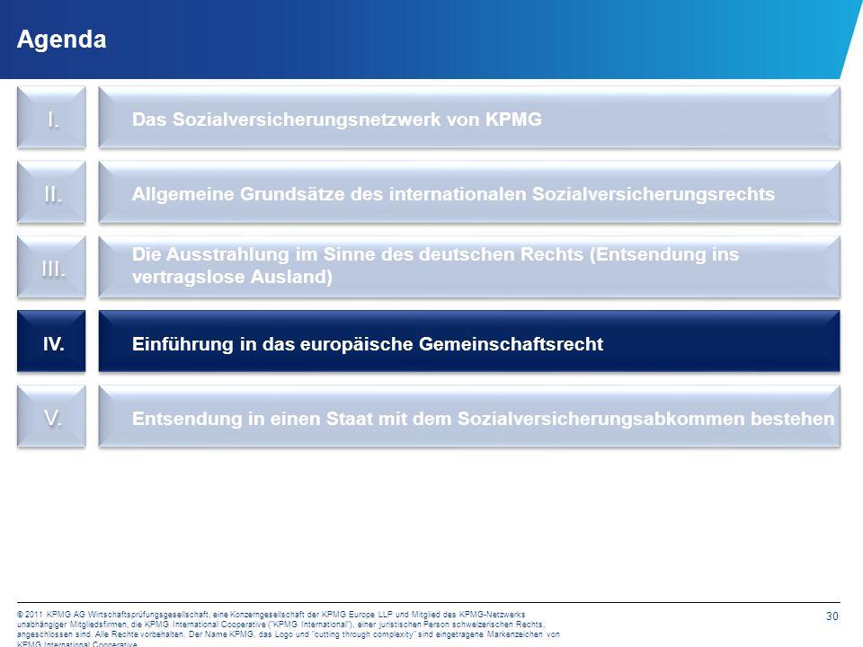 30 © 2011 KPMG AG Wirtschaftsprüfungsgesellschaft, eine Konzerngesellschaft der KPMG Europe LLP und Mitglied des KPMG-Netzwerks unabhängiger Mitglieds