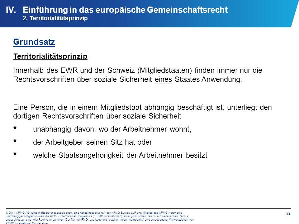 32 © 2011 KPMG AG Wirtschaftsprüfungsgesellschaft, eine Konzerngesellschaft der KPMG Europe LLP und Mitglied des KPMG-Netzwerks unabhängiger Mitglieds