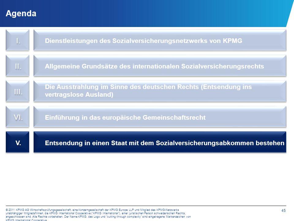 45 © 2011 KPMG AG Wirtschaftsprüfungsgesellschaft, eine Konzerngesellschaft der KPMG Europe LLP und Mitglied des KPMG-Netzwerks unabhängiger Mitglieds