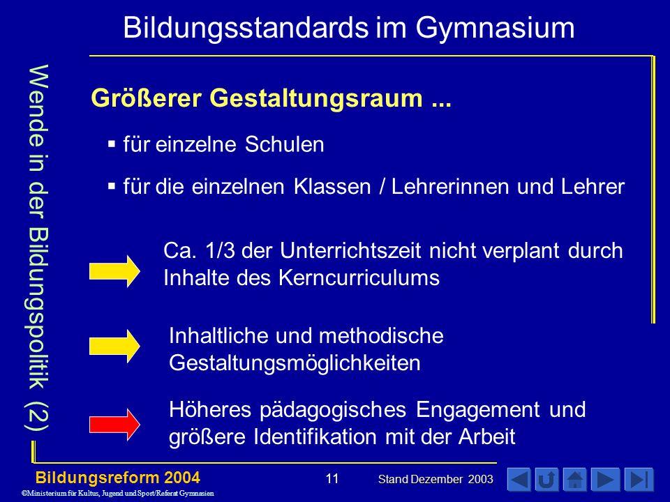 Bildungsstandards im Gymnasium Bildungsreform 2004 Stand Dezember 2003 11 Größerer Gestaltungsraum...
