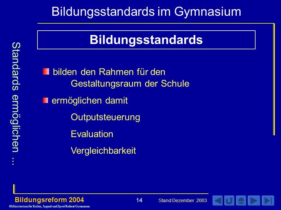 Bildungsstandards im Gymnasium Bildungsreform 2004 Stand Dezember 2003 14 Standards ermöglichen...