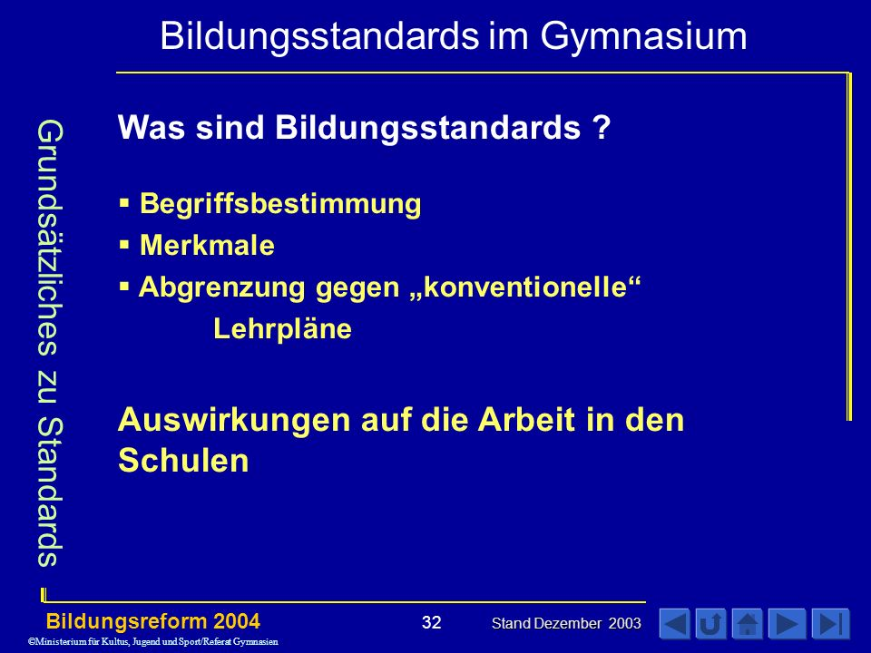 Bildungsstandards im Gymnasium Bildungsreform 2004 Stand Dezember 2003 32 Was sind Bildungsstandards .