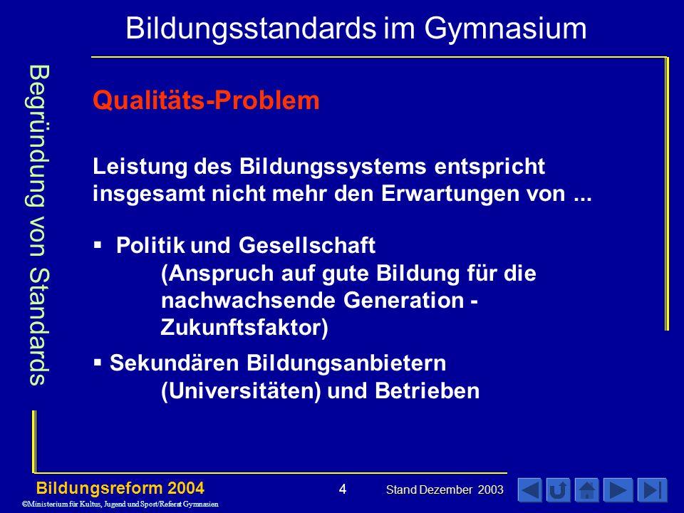 Bildungsstandards im Gymnasium Bildungsreform 2004 Stand Dezember 2003 4 Qualitäts-Problem Leistung des Bildungssystems entspricht insgesamt nicht mehr den Erwartungen von...