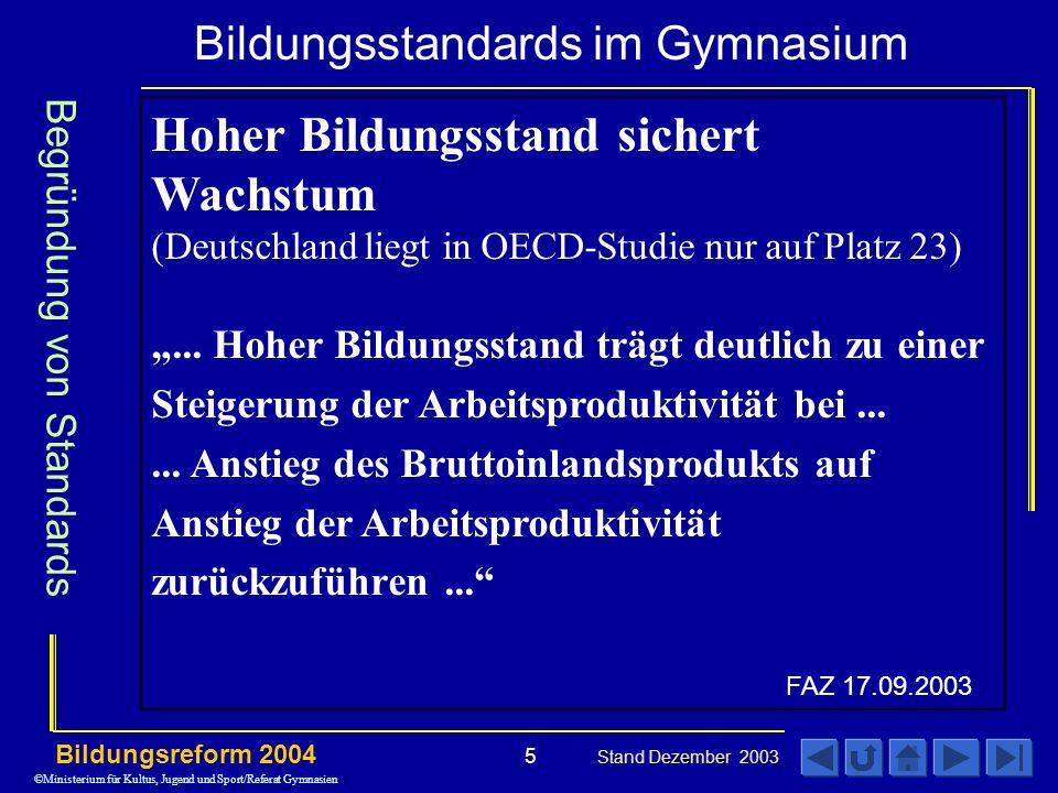 Bildungsstandards im Gymnasium Bildungsreform 2004 Stand Dezember 2003 5 Hoher Bildungsstand sichert Wachstum (Deutschland liegt in OECD-Studie nur auf Platz 23)...
