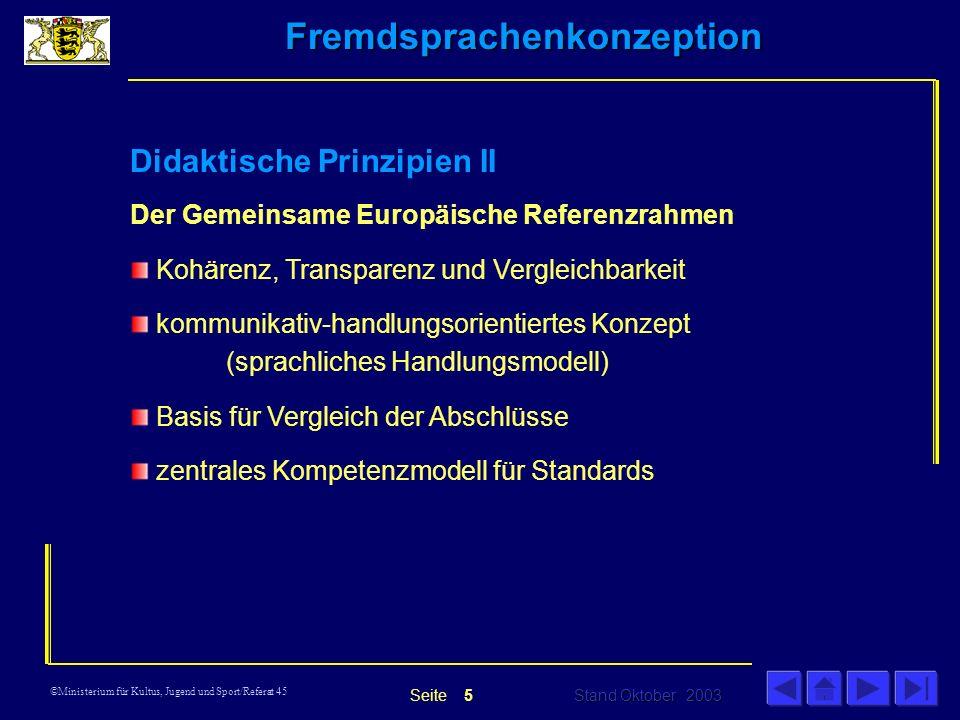 Fremdsprachenkonzeption Stand Oktober 2003 Seite ©Ministerium für Kultus, Jugend und Sport/Referat 45 Didaktische Prinzipien II Der Gemeinsame Europäische Referenzrahmen Kohärenz, Transparenz und Vergleichbarkeit kommunikativ-handlungsorientiertes Konzept (sprachliches Handlungsmodell) Basis für Vergleich der Abschlüsse zentrales Kompetenzmodell für Standards 5