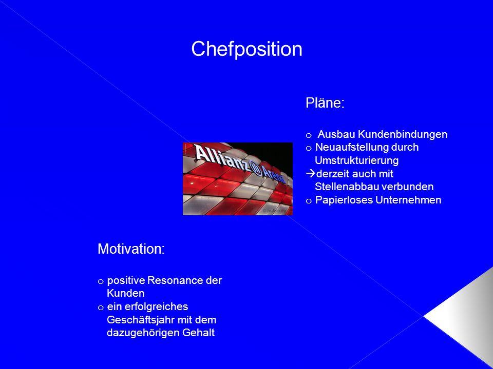 Chefposition Motivation: o positive Resonance der Kunden o ein erfolgreiches Geschäftsjahr mit dem dazugehörigen Gehalt Pläne: o Ausbau Kundenbindunge