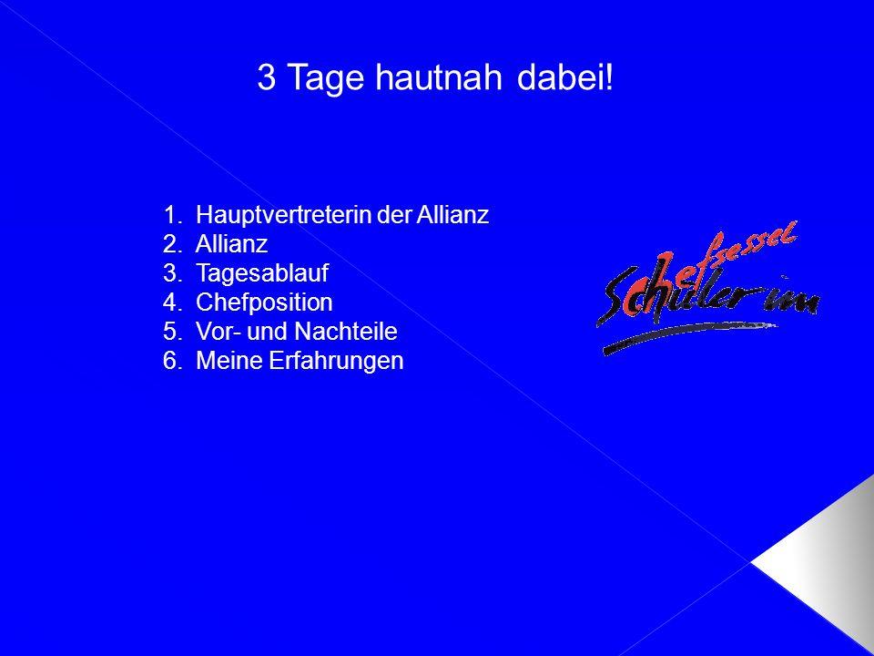 1.Hauptvertreterin der Allianz 2.Allianz 3.Tagesablauf 4.Chefposition 5.Vor- und Nachteile 6.Meine Erfahrungen 3 Tage hautnah dabei!